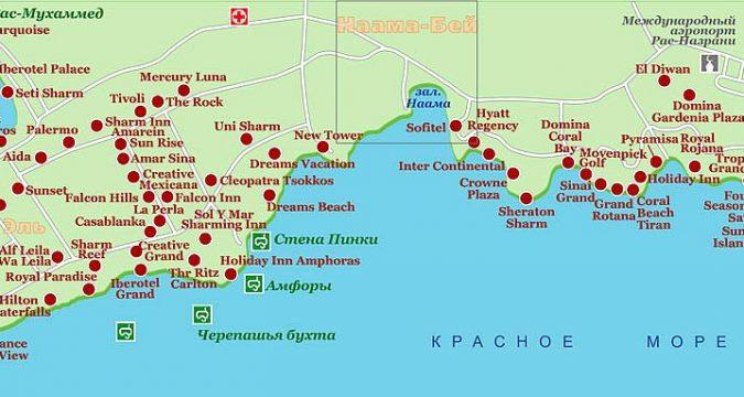 karta sharm el shejkha na russkom yazyke 675x360 - Карта отелей